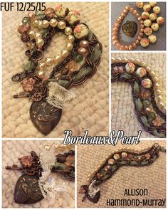 FUF 12/25/15 Pink pearl Czech glass beads, vintage floral beads, and heart charm all from B'sue Boutiques.