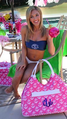 Be sure to make a #splash this summer with one of our Monogrammed Bathing Suit Bandeau Tube Tops from marleylilly.com! #preppy #poolparty #bathingsuit #monogram #summer