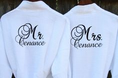 Items similar to HIS and HERS Robes; Personalized Wedding Gift, Hotel Robes, Bridal Wedding Gifts, Mr and Mrs. Robes, RUSH Orders Welcome on Etsy Monogram Styles, Monogram Initials, Monogram Towels, Men's Robes, Best Wedding Speeches, Wedding Order, Bridal Robes, Personalized Wedding Gifts, Wedding Trends