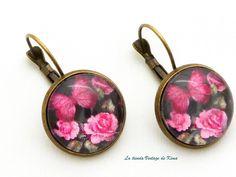 Pendientes estilo vintage fucsia de La Tienda Vintage de Kima por DaWanda.com