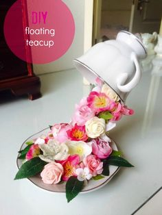 Want to know how to make a teacup look like its floating? Mandie Hopkinson shares how to do this using 4 simple materials! Girls Tea Party, Tea Party Theme, Tea Party Hats, Tea Party Centerpieces, Tea Party Decorations, Teacup Centerpieces, Quince Decorations, Quinceanera Centerpieces, Floating Tea Cup