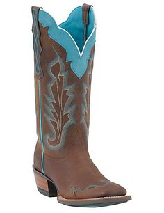 Ariat Ladies Withered Brown w/ Turquoise Caballera Square Toe Wingtip Western Boots