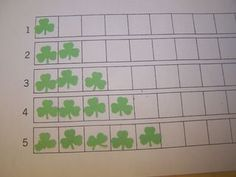 Montessori counting sheet, use paper punchers, child punches shapes then uses to glue on counting sheet.