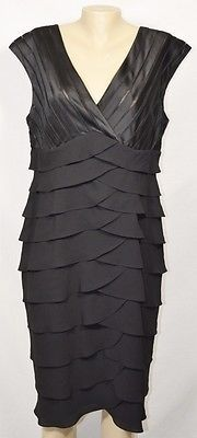 ADRIANNA PAPELL WOMAN Black Shutter Pleated Dress 14W Satin/Sheer Stripe Bodice