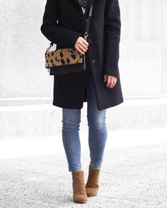 A Little Detail - Winter Fashion // Winter Outfit // Outfit Details // #ootd #outfitoftheday #winterfashion #fashion #outfit #blackcoat #camelboots #leopardprint