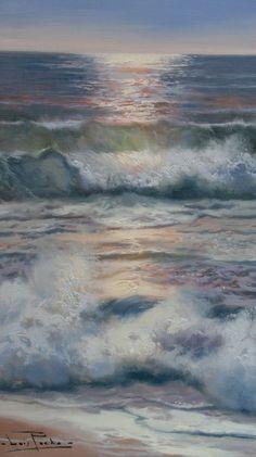 saturday - whatever it takes - Luis Pardo Óleo Fantasy Landscape, Landscape Art, Landscape Paintings, Sea Pictures, Pictures To Paint, Ocean Scenes, Boat Painting, Wave Art, Sea Art