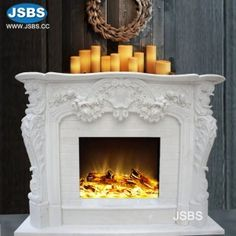 Fireplace with Flower White Fireplace Mantels, Marble Fireplaces, Fireplace Surrounds, Fireplace Ideas, Marble Carving, Stone Fountains, Stone Columns, Stone Cladding, Stone Veneer