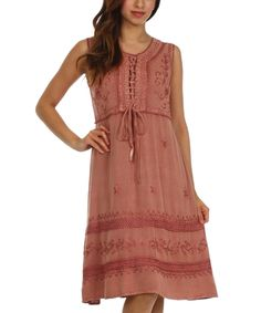 Another great find on #zulily! Dusty Rose Embroidered Lace-Up Dress by Sakkas #zulilyfinds