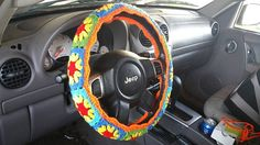 """This steering wheel cover can be customized to match my spare tire cover. https://www.etsy.com/listing/234828901/multi-color-crochet-spare-tire-cover?ref=shop_home_active_5  This listing is for the steering wheel cover only. Matching console cover as seen in the pic is also available. Discount available when you purchase more than one item from my store:) Message me if you are interested!  • Hand made with acrylic yarn • Fits standard steering wheels with 47-48"""" ..."""