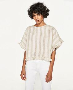 Imagem 2 de BLUSA QUIMONO LINHO da Zara