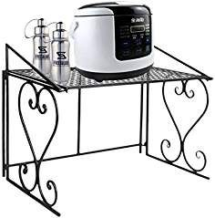 Etagère Micro-ondes en Métal Amovible Rangement Cuisine de Service Meuble (Noir)-Dazone ®