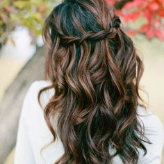 Dark hair with caramel highlights