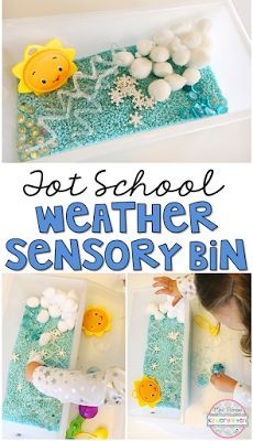 This weather sensory bin was great for engaging in pretend play. Perfect for tot school, preschool, or the kindergarten classroom.