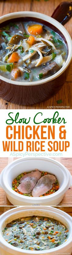 Perfect for January Diets! Healthy Slow Cooker Chicken Wild Rice Soup (Low Fat, Gluten Free, Dairy Free) | ASpicyPerspective.com Crock Pot Soup, Crock Pot Cooking, Crockpot Recipes, Soup Recipes, Slow Cooker Recipes, Chicken Recipes, Cooking Recipes, Weeknight Recipes, Chicken Soup