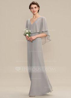 JJsHouse A-Line V-neck Floor-Length Chiffon Bridesmaid Dress Satin Bridesmaid Dresses, Satin Dresses, Nice Dresses, Prom Dresses, Gowns, Chiffon Dresses, Hijab Dress Party, Taffeta Dress, Model Outfits