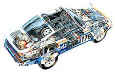 """Dessin en """"éclaté"""" de la Porsche 911 - Nom de Code """"953""""...."""