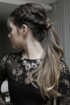 It's finally time to look out those long lost peace officer pins. You'll want them to embellish your next coiffure. Pull your hair into a. Fast Hairstyles, Ponytail Hairstyles, Girl Hairstyles, Wedding Hairstyles, Hairstyle Photos, Braid Ponytail, Hairstyle Ideas, Hairdos, Hair Ideas