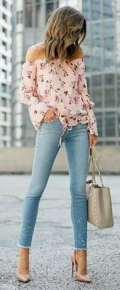 Pink print off the shoulder top with soft blue jeans