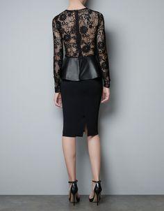 Zara Studio Dress with Leather Peplum Frill in Black - Lyst
