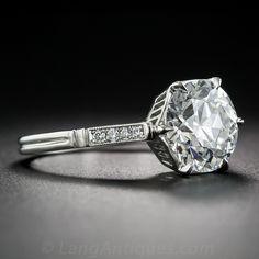 2.43 Carat European-Cut Diamond and Platinum Solitaire GIA G/VS2 - Vintage Engagement Rings