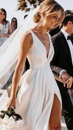 Wedding Goals, Wedding Pics, Wedding Styles, Classic Wedding Dress, Dream Wedding Dresses, Simple Sexy Wedding Dresses, Plunge Neckline Wedding Dress, Big Bust Wedding Dress, One Shoulder Wedding Dress