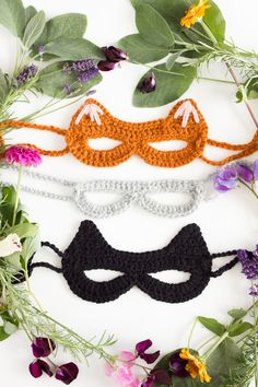 ideas crochet cat hat pattern free kids for 2019 Crochet Mask, Crochet Headband Pattern, Love Crochet, Knit Crochet, Crochet Bikini, Crochet Stitches, Crochet Patterns, Masque Halloween, Crochet Costumes