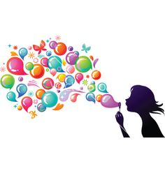 Kids playing girl blowing bubbles vector image on VectorStock Bubble Drawing, Bubble Art, Heart Bubbles, Soap Bubbles, Blowing Bubbles, Blowing Kisses, Bubble World, Bubble Pictures, School Murals
