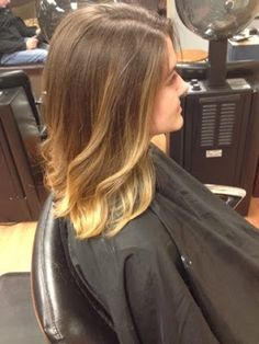 Medium length style with sun-kissed balayage highlights. Who says you have to do darker in the winter? Not me! #hairbykimberlyboshold