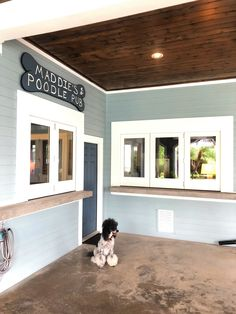 The Presnell residence in Galveston TX features folding windows around their outdoor entertainment space, named after their late poodle Maddie. Folding Patio Doors, Window Design, Galveston, Outdoor Entertaining, Poodle, Innovation, Entertainment, Windows, Space