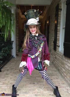 Mad Hatter's Daughter Costume - Halloween Costume Contest via Mad Hatter Halloween Costume, Mad Hatter Costumes, Alice Costume, Halloween Costume Contest, Female Mad Hatter Costume, Mad Hatter Cosplay, Halloween Costumes Girls, Scarecrow Costume, Holiday Costumes