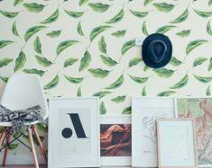 palm leaf wallpaper for kictchen
