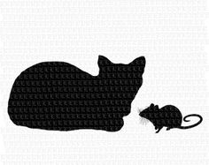 Cat & Mouse Rat Silhouettes Digital Collage by luminariumgraphics, $2.20