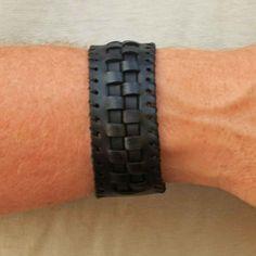 Black Leather Cuff Bracelet for Men