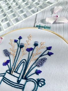 Full embroidery kit. 2-design floral wellington boots and watering can hoop art. Cottagecore mindful art therapy