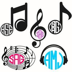 Music Symbols Monogram Pack with Clef, Notes and Headphones Frames Cuttable Design Cut File. Vector, Clipart, Digital Scrapbooking Download, Available in JPEG, PDF, EPS, DXF and SVG. Works with Cricut, Design Space, Sure Cuts A Lot, Make the Cut!, Inkscape, CorelDraw, Adobe Illustrator, Silhouette Cameo, Brother ScanNCut and other compatible software.