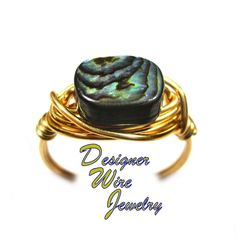 Gorgeous Fiery Ocean Abalone Artisan Gold Tone Wire Wrap Ring All Sizes