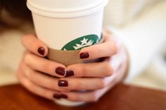 Dark red nails + Starbuck = <3