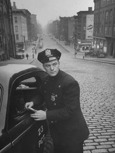 Vintage Cars Photographic Print: Ny Patrolman James Murphy Standing by His 23 Precinct Squad Car on Street of His East Harlem Beat by Tony Linck : - Police Uniforms, Police Officer, Police Cars, Police Crime, Cthulhu, James Murphy, New York Police, Vintage New York, Beats