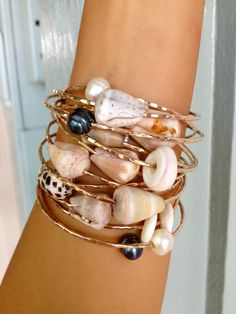 Custom Puka Shell Bangle or Cone Shell Bangle Sterling Silver. the more the mer… - Jewelry Ideas Seashell Jewelry, Seashell Crafts, Beach Jewelry, Wire Jewelry, Jewelry Crafts, Handmade Jewelry, Gold Jewelry, Jewelry Stand, Crystal Jewelry