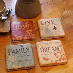 Set Of Four Tile Coasters -'Dream, Live, Home, Family' - Niche Home Ltd