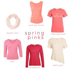 Spring's version of blush pink has an undertone of warmth and brightness to make it fit in with your vibrant Spring palette. Go for warm rose shades or softer peachier tones.