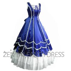 Sleeveless Square Neck Royal Blue Satin Gothic Victorian With White Layers