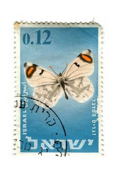 butterfly Israel postage stamp, 1965