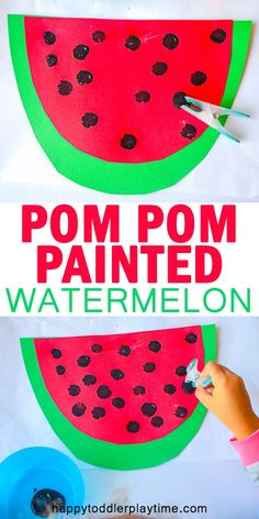 Pom Pom Painted Watermelon Pom Pom Painted Watermelon – HAPPY TODDLER PLAYTIME Here is a fun and creative summer Pom Pom craft that your toddler or preschooler will enjoy. Pom Pom Painted Watermelon makes a great summer activity! Summer Activities For Toddlers, Summer Crafts For Kids, Summer Kids, Craft Activities, Toddler Activities, Summer Crafts For Preschoolers, Arts And Crafts For Kids Toddlers, Spring Toddler Crafts, Creative Activities For Kids