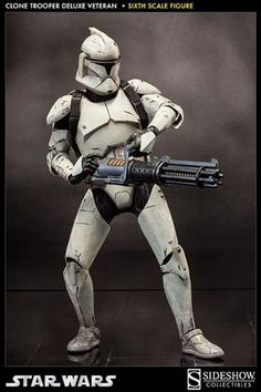 Clone Trooper Deluxe Veteran Figure from Star Wars Episode II Attack Of The Clones, Sideshow Collectibles 100206 Clone Trooper Deluxe Veteran Figure from Star Wars Episode II Attack Of The Clones. It is made by Sideshow Collectibles and is 1:6 scale (approx. 30cm / 11.8in high). Sideshow presents the Clone Trooper Deluxe: Veteran, these seasoned vets have survived countless hard-fought battles.