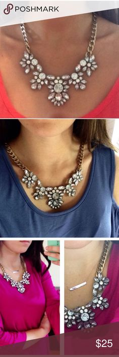 BESTSELLER Crystal Clear Floral Necklace gorgeous! One of my all time best sellers! Add some sparkle to your outfit!! All jewelry is buy 2 get 1 free! Jewelry Necklaces