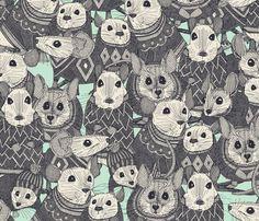 sweater mice mint fabric by scrummy on Spoonflower - custom fabric