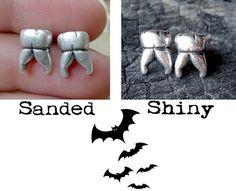 Sterling silver human teeth studs earrings. Handmade in solid