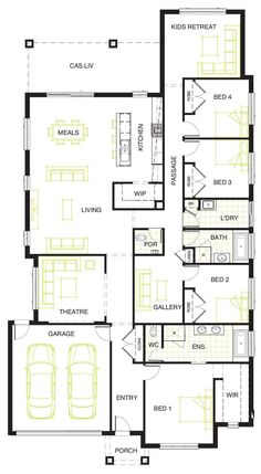 Different and practical. Who said the back yard was dead! The Hermosa with its clever use of space allow the backyard to live . Best House Plans, Dream House Plans, Small House Plans, House Floor Plans, Duplex Design, House Design, 4 Bedroom House Plans, Home Design Floor Plans, Floor Layout