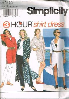 SIMPLICITY 9104 3 hour shirt dress size 14-16-18 1994 UNCUT #SIMPLICITY #MISSES